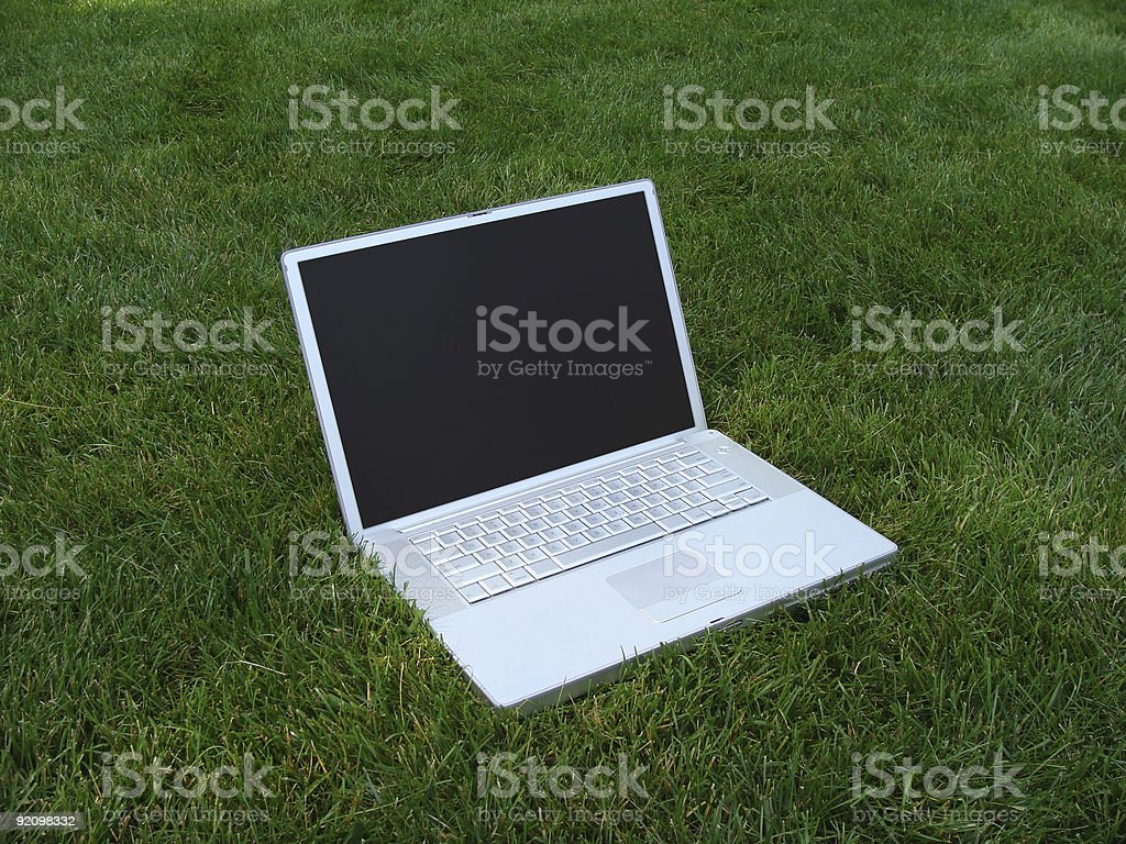 Laptop computer in the grass. Green meetings, see more below!!!! royalty-free stock photo
