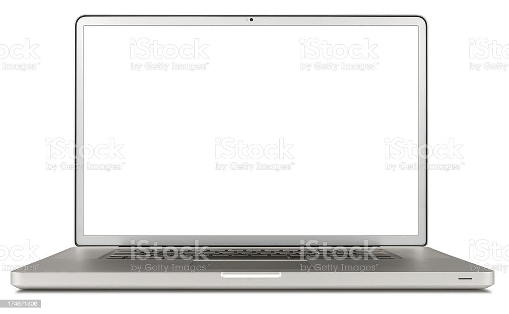 Laptop computer isolated on white (clipping path) royalty-free stock photo