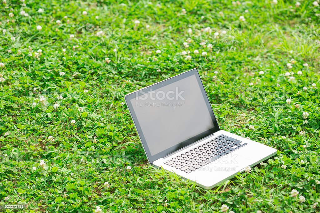 Laptop computer lying open on grass foto de stock royalty-free