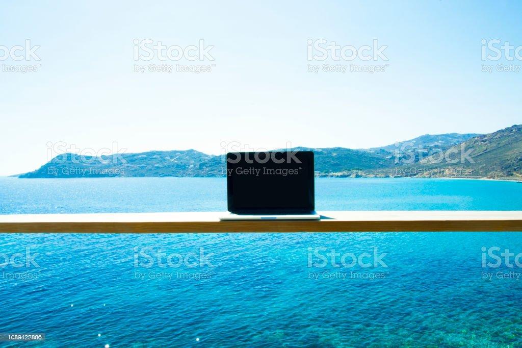 Laptop computer mock up stock photo