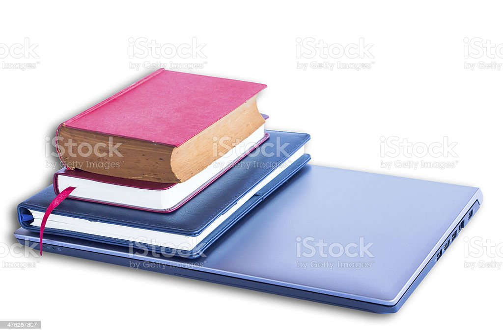 Laptop computer with and books stock photo