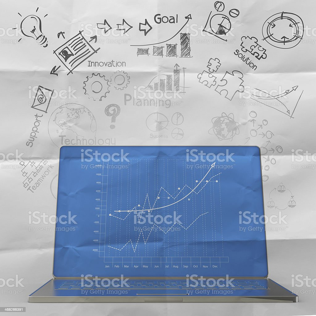 laptop computer with business diagram royalty-free stock photo
