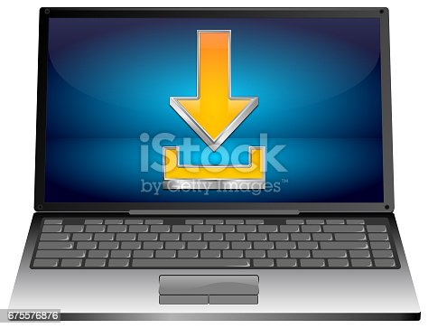 691857696istockphoto Laptop computer with Download Symbol - 3D illustration 675576876