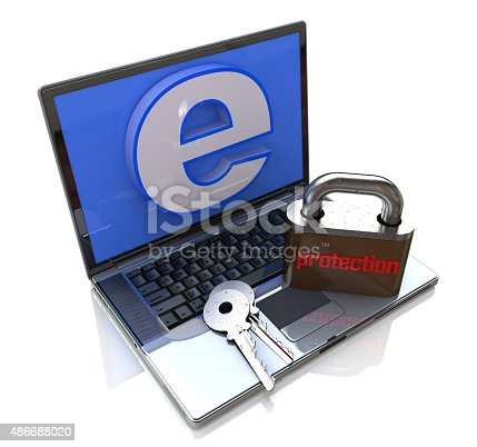 istock Laptop Computer with lock - Internet protection 486688020