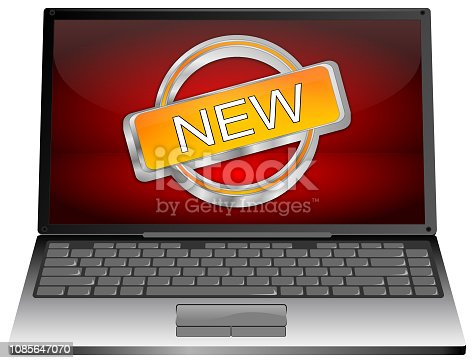 istock Laptop computer with New Button - 3D illustration 1085647070