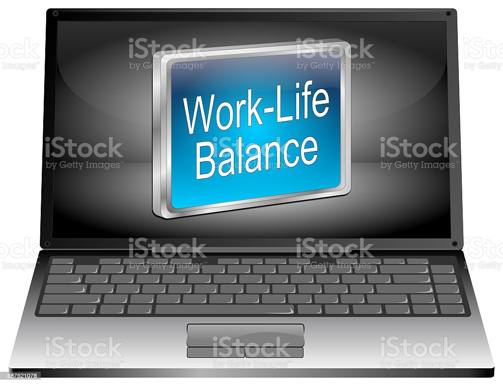 Laptop computer with Work Life Balance button - 3D illustration stock photo