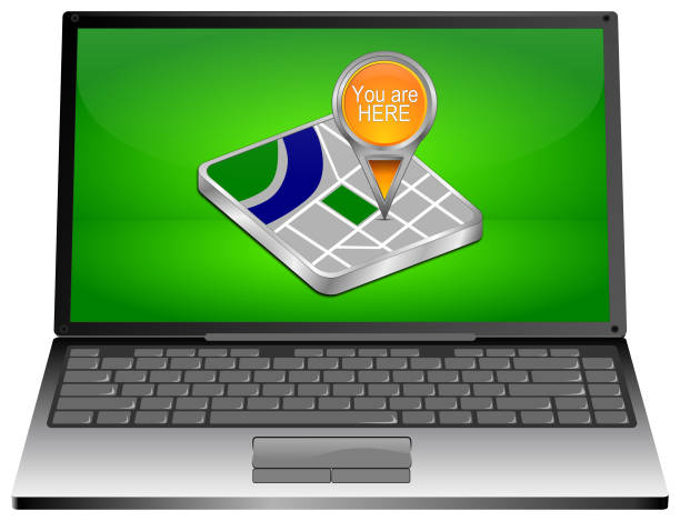 Laptop Computer with You are Here Map Pointer - 3D illustration stock photo