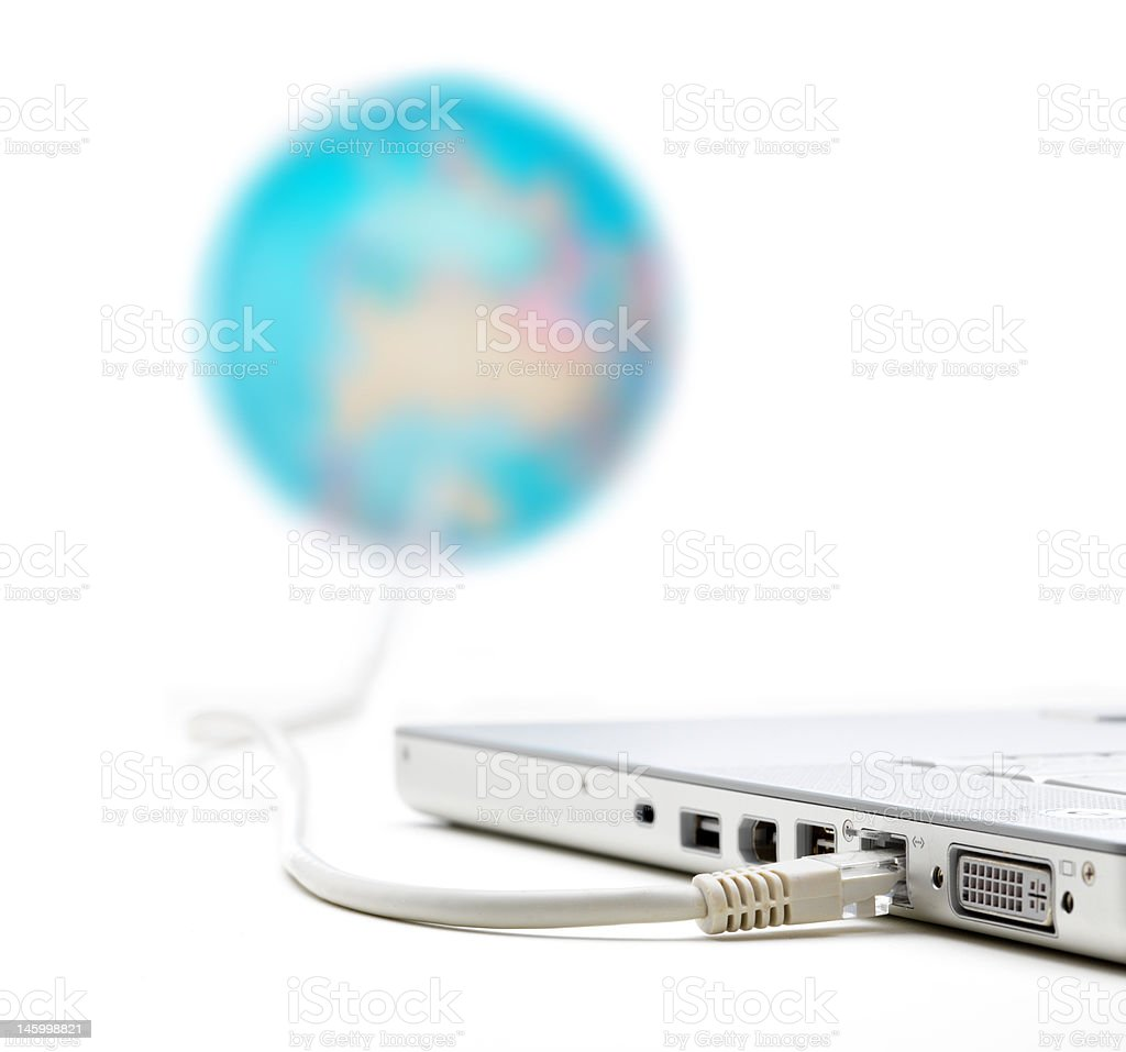 Laptop connected to the internet Globe royalty-free stock photo