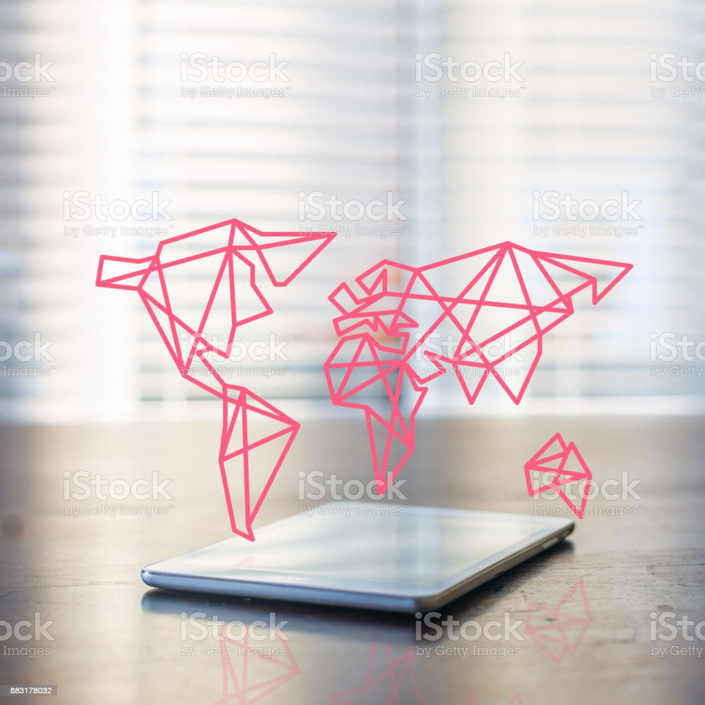 laptop connected to the world stock photo