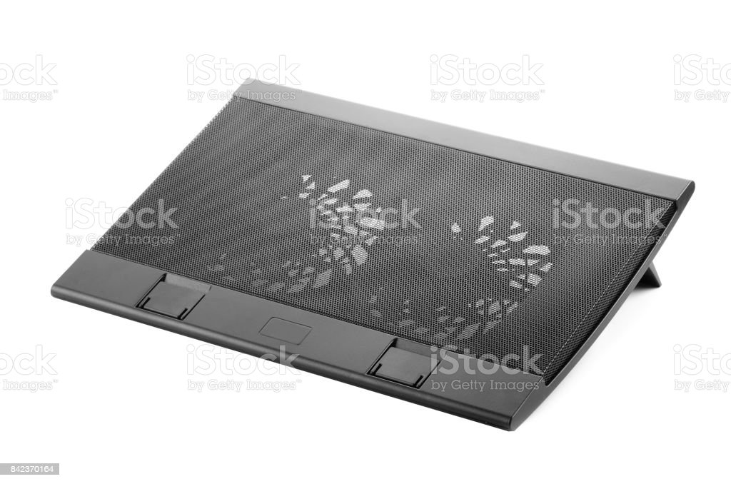 Laptop cooler stand stock photo