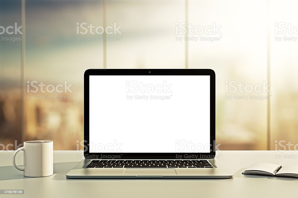 laptop, cup and diary stock photo