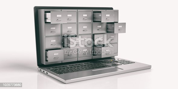istock Laptop data storage concept. 3d illustration 1025773680