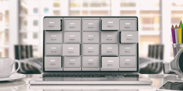 przechowywanie danych na laptopie. szafka na laptopa. ilustracja 3d - przemysł elektroniczny zdjęcia i obrazy z banku zdjęć
