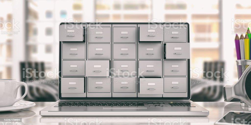 Laptop data storage. Filing cabinet on a laptop screen. 3d illustration - foto stock