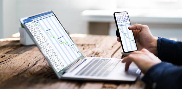 Laptop Digital Electronic Gantt Chart Convertible Business Laptop Digital Electronic Gantt Chart gantt chart stock pictures, royalty-free photos & images