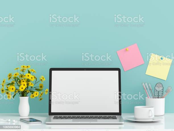 Photo of Laptop display for mockup on table, 3D rendering