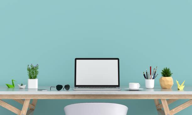 テーブルのモックアップのためのラップトップの表示、3d レンダリング - 机 ストックフォトと画像