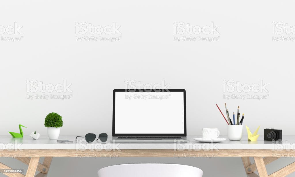 Laptop display for mockup on table, 3D rendering royalty-free stock photo