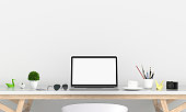 istock Laptop display for mockup on table, 3D rendering 932363054