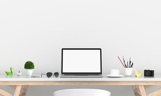 Laptop Display For Mockup On Table 3d Rendering - Fotografie stock e altre immagini di Affari