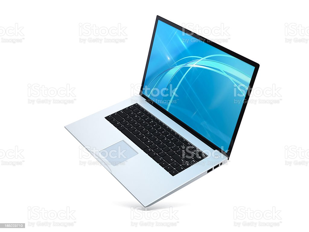 Laptop floating angled Open royalty-free stock photo