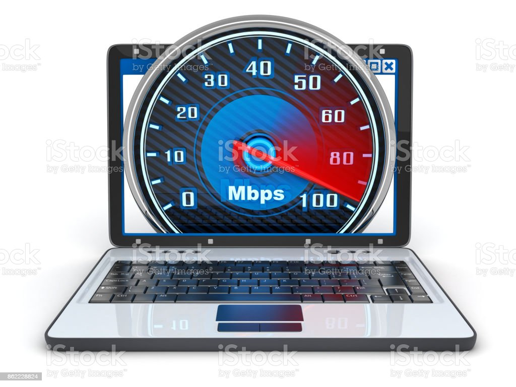 Laptop front view and internet speed stock photo