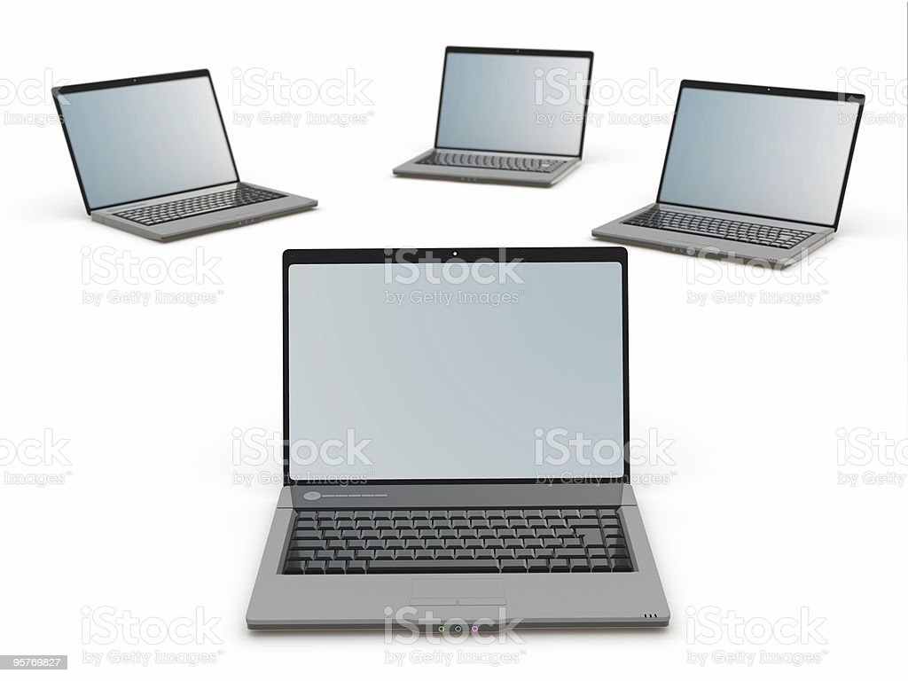 laptop group , isolated royalty-free stock photo