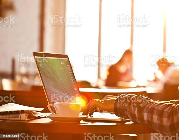Laptop Hands Sun Light Stock Photo - Download Image Now