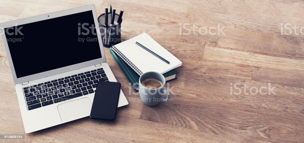 Laptop header stock photo