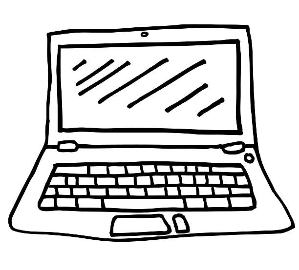 Laptop Illustration - Line Drawing in Black and White stock photo