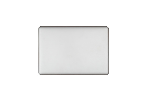 laptop in closed top view isolate on white.