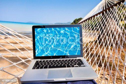 istock laptop in hammock on the beach 478961625