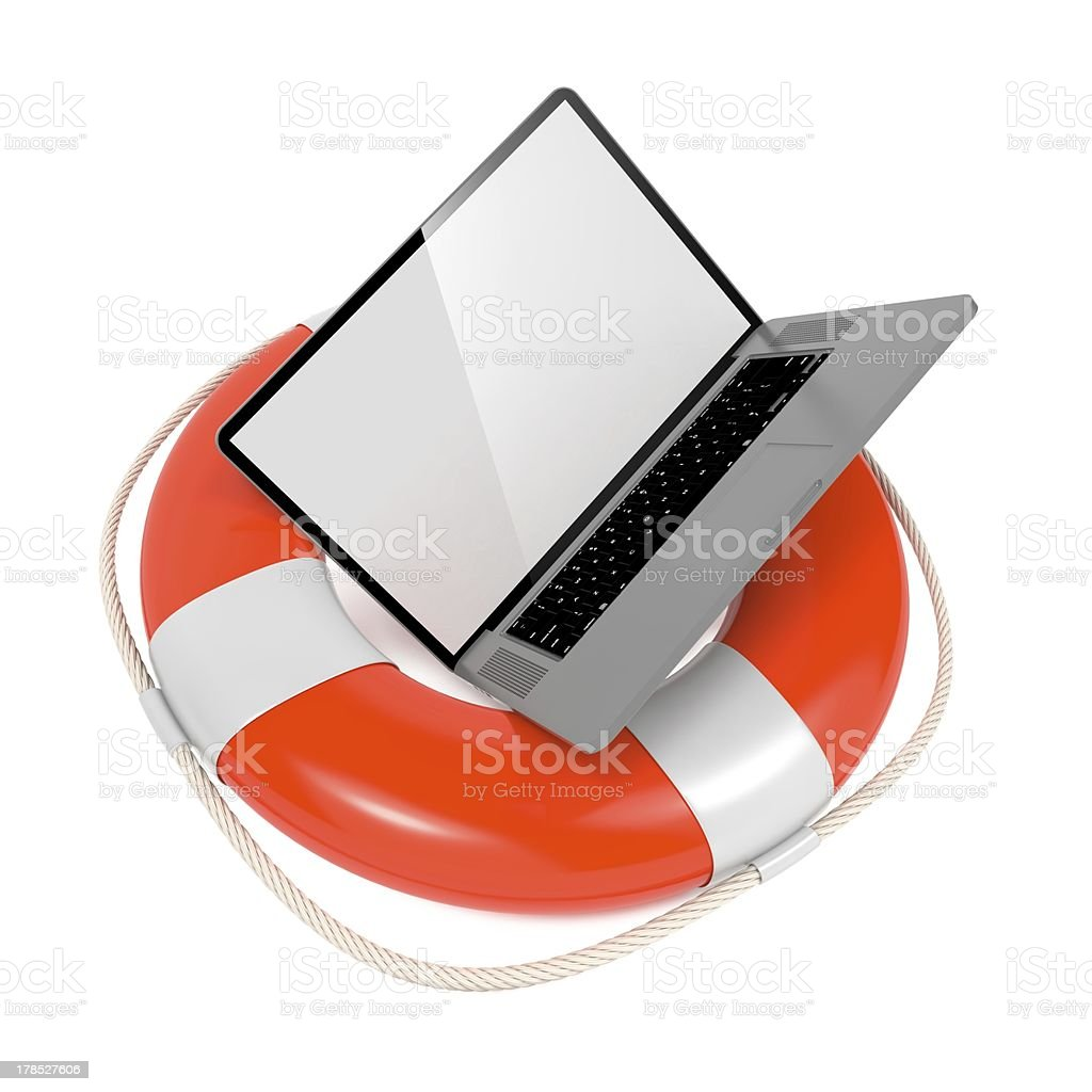 Laptop in Lifebuoy. Support and Service Concept. royalty-free stock photo