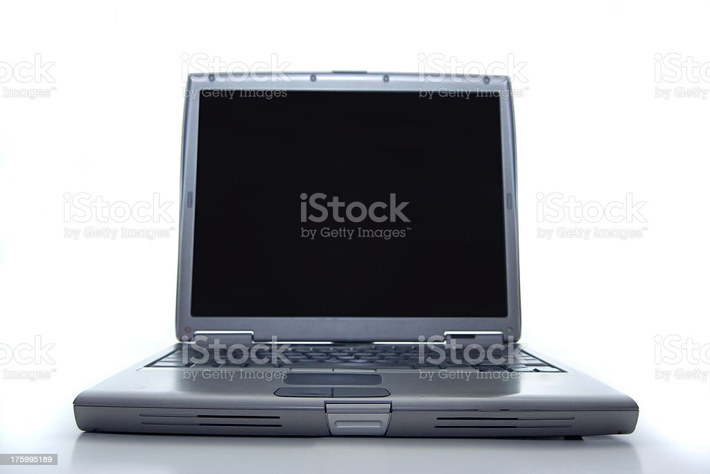 Laptop in wide angle stock photo