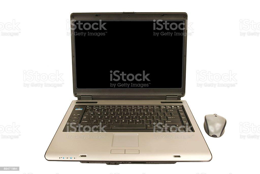 Laptop isoliert auf weiss mit leeren Bildschirm mit Textfreiraum Lizenzfreies stock-foto