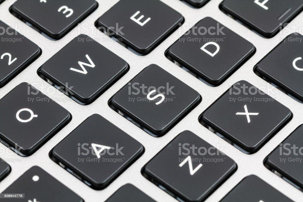 Laptop keyboard. Closeup stock photo