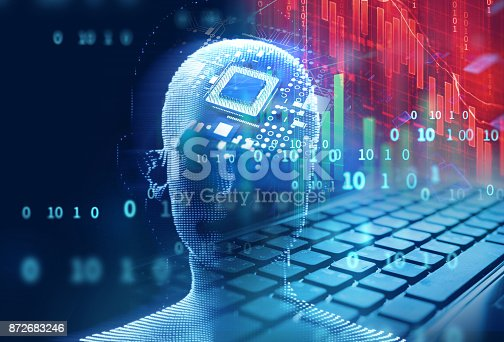 istock laptop keyboard on technology financial graph background. 872683246