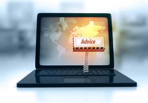 laptop keyboard with key advice - call center стоковые фото и изображения