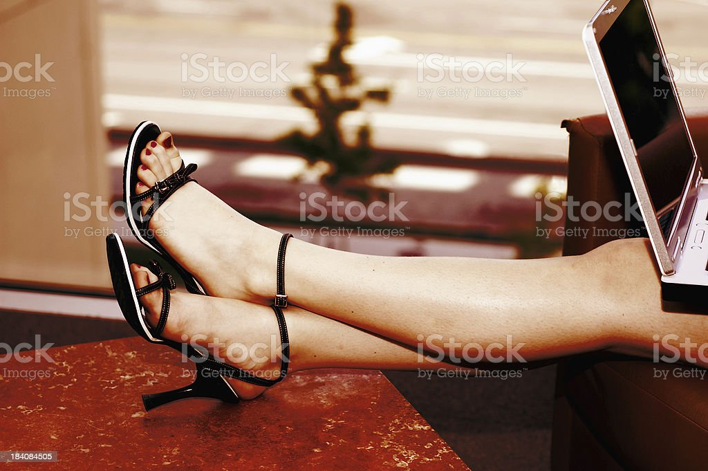 Laptop Legs stock photo