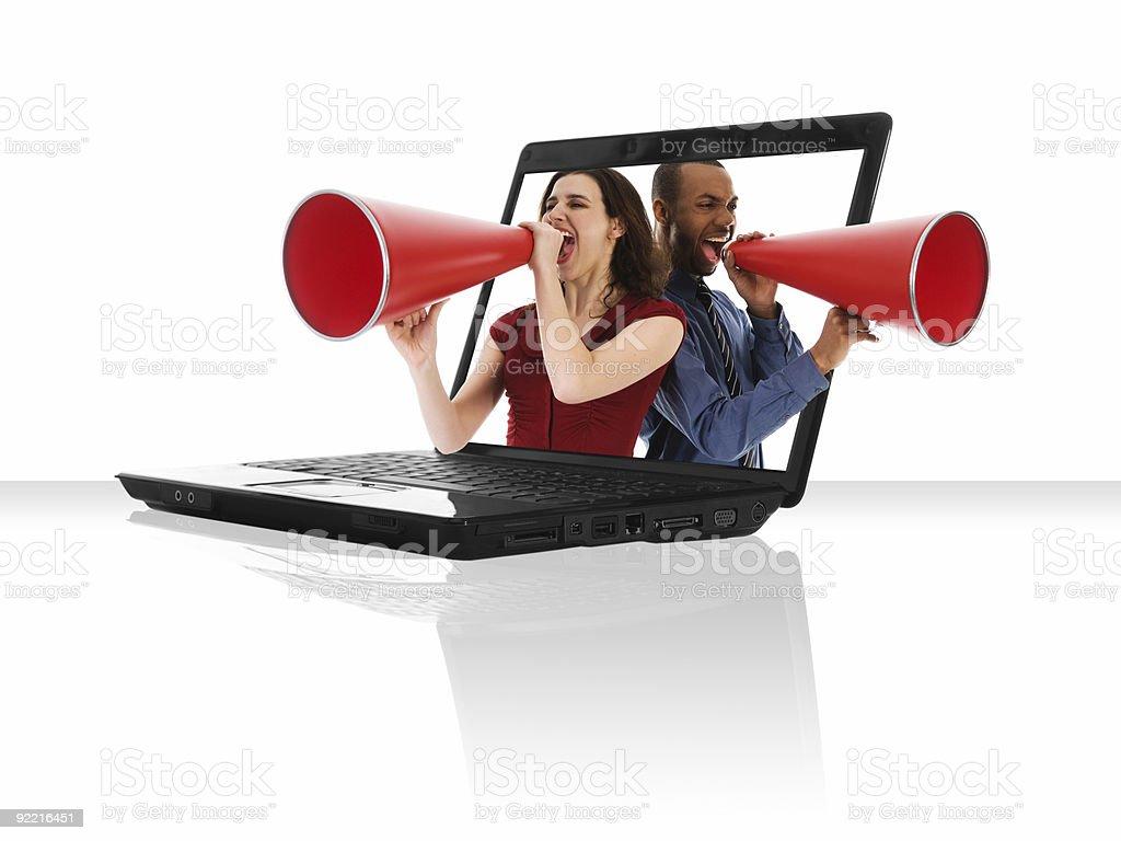 Laptop Megaphone  Adult Stock Photo