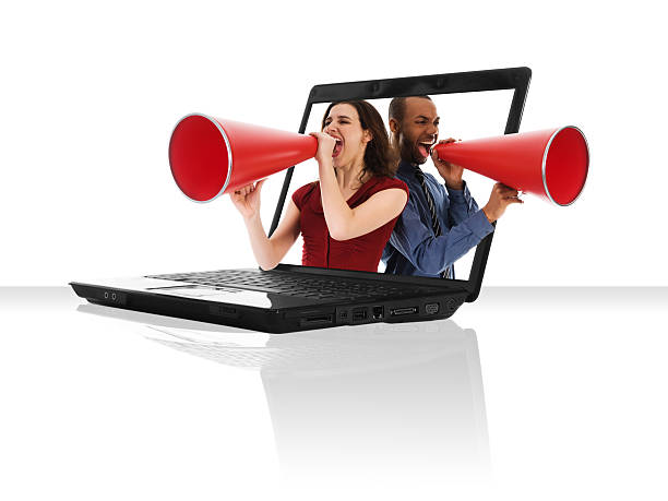Laptop Megaphone stock photo