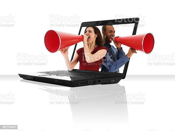 Laptop Megaphone Stock Photo - Download Image Now