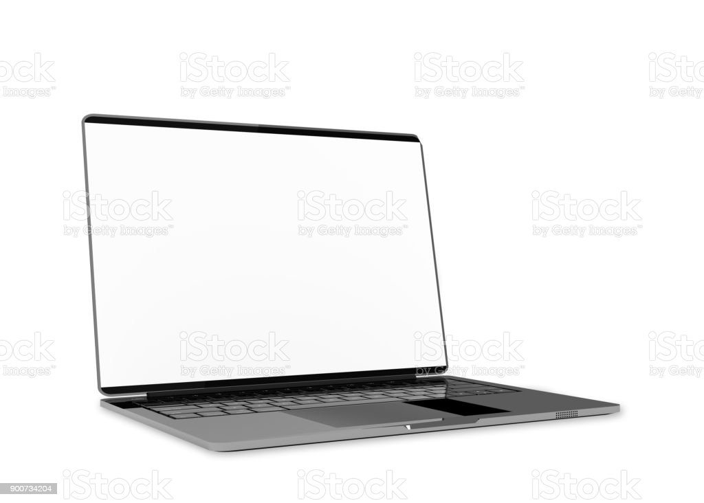 Laptop metallic color with blank screen isolated and clipping path - fotografia de stock