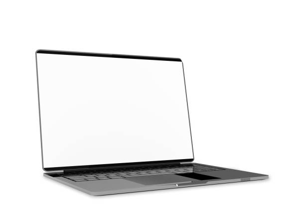 laptop metallic color with blank screen isolated and clipping path - laptop stock photos and pictures