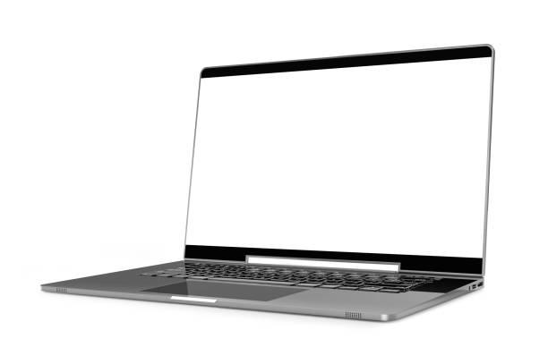 laptop metallic color with blank screen mock-up isolated - ноутбук стоковые фото и изображения
