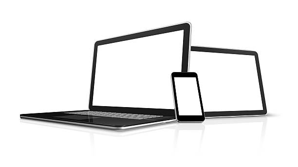laptop, mobile phone and digital tablet pc computer stock photo