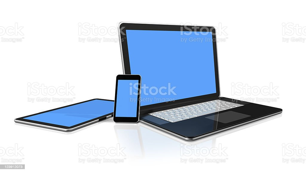A laptop, mobile phone and tablet with blue screens royalty-free stock photo