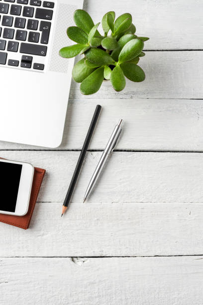 Laptop, mobile phone, notebook, pen and small flower on white wooden desktop. Business background concept stock photo