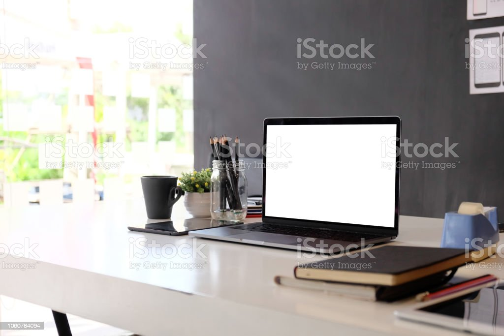 Laptop mock up Workplace Marketing Accounting business desk. royalty-free stock photo