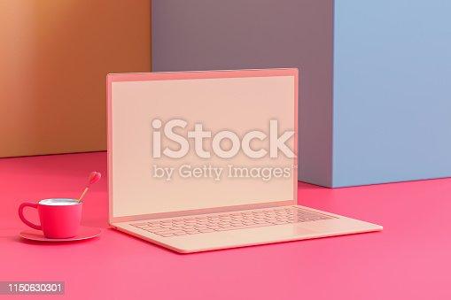 istock Laptop mock-up Pastel color on work desk table 1150630301